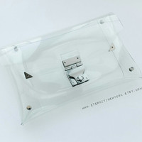 Glass-like clutch, Clear clutch, medium size bag, transparent clutch,vinyl purse, transparent bag, PVC clutch