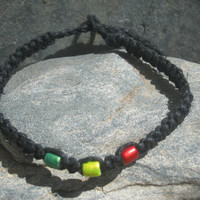 Black Rasta Macrame Hemp Bracelet, Adjustable Square