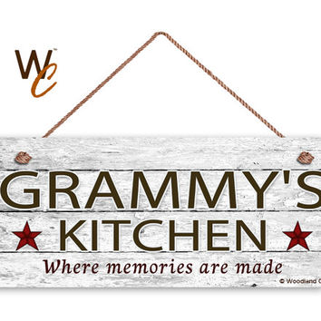 "GRAMMY'S KITCHEN Sign, Distressed Style, Gift For Grandparent, Gift From Grandchild, 6"" x 14"" Sign, Kitchen Sign, Made To Order"
