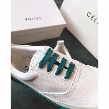 Celine Cylin 2018 spring color contrast white shoes low to help round head with low heel casual shoes women's flat canvas shoes sneakers green