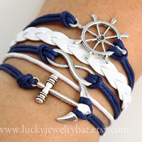 rudder bracelet, Infinity bracelet, anchor bracelet, leather bracelet, wax cords bracelet
