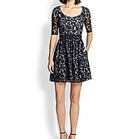 Carven - Lace-Overlay Gingham Dress - Saks Fifth Avenue Mobile