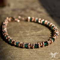 Copper & Emerald Swarovski Bracelet