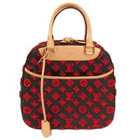 Louis Vuitton Rare Limited Edition Monogram Brown Red Top Handle Satchel Bag