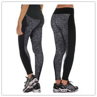 Women Fashion soft strechy Black And Gray Paneled Plus Slimming Pants Leggings For Running/Yoga/Sport/Sleep = 1932422724