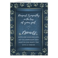Deepest Sympathy Pet Loss Blue & Gold Paw Prints Card
