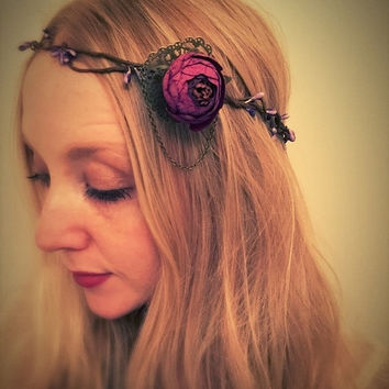 SALE Vintage purple flower crown,rustic flower garland,woodland flower headband,Victorian hair accessory,flower haid piece,head chain,peony