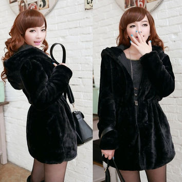 Coat Women Hoodied Faux Fur Jacket Parka Tops Collar M L XL Stylish  D_L (Size: L) = 1712970628
