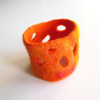 Felted bracelet  hand felted  bangle felt, orange, pink