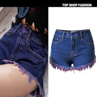 2016 Trending Fashion High Waisted Jeans Handkerchief Jeans Denims Shorts Trousers Pants _ 1141