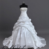 Strapless Embroidery Beading A-line Ruffled Wedding Ball Gown Bridal Dress