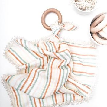 Pastel Stripes - Organic Muslin Lovey with Teething Ring