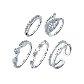 Leaf Crown Wedding Jewelry Rings - Silver One-size