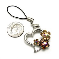 Cell Phone Charms ~ Heart with Flowers Cellphone Charm Accented with Topaz Crystals (Style Cellphon