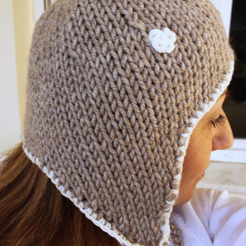 Taupe Hat Ear flap Winter Pilot Hat Pale Taupe Latte and Cream