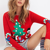 FOREVER 21 Jingle Bell Holiday Sweater Red/Multi