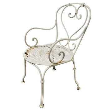 Pre-owned Vintage French Iron Garden Arm Chair