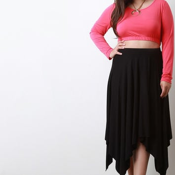 Solid Jersey Knit Handkachief Hem Skirt