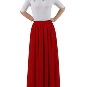New Women's Pleated Summer Long Chiffon Skirt Beach Maxi Skirt / Long Skirt