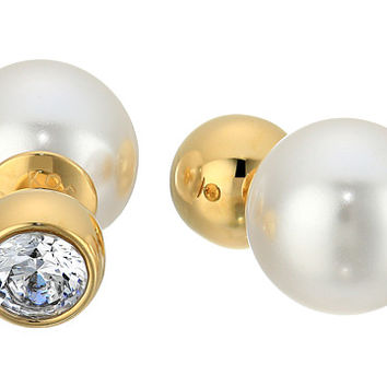 Michael Kors Pearl Tone Crystal and White Pearl Front-Back Stud Earrings Gold - Zappos.com Free Shipping BOTH Ways