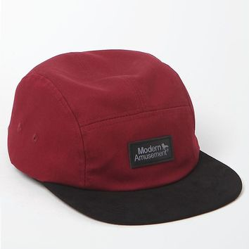 Modern Amusement Burgundy Blocked 5 Panel Hat - Mens Backpack - Red - One