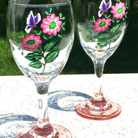 Hand Painted Wine Glasses With Pink Flowers and Purple Butterflies, Wine Glass Charms, Birthday Gift, Wedding Gift, Anniversary Gift