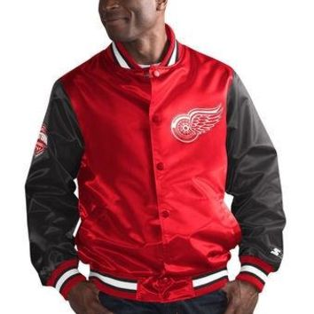 NHL Detroit Red Wings the Rookie Starter Satin Varsity Jacket