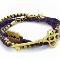 Purple Braided Golden Lock with Vintage Key Wrap-around Bracelet: Jewelry: Amazon.com