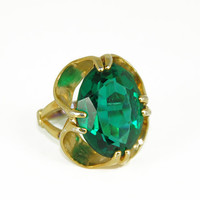 Vintage Cocktail Ring Statement May Birthstone Emerald
