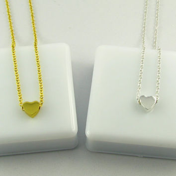 Gold Heart Necklace / Simple Everyday Necklace / Gold or Silver Necklaces/ Romantic Gift for Her