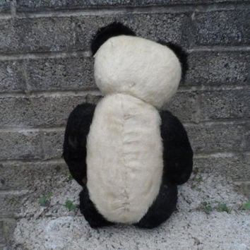 Antique panda teddy bear - old 1920's stuffed toy - black and white vintage growler bear - Steiff Chiltern - vintage bear child's toy