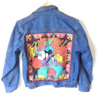 Vintage 90s Cowboy Mickey Mouse Western Denim Ugly Jacket - The Ugly Sweater Shop