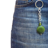 Keychain with Silver Chain, Large keyring and Round Wooden Olive Green Bead