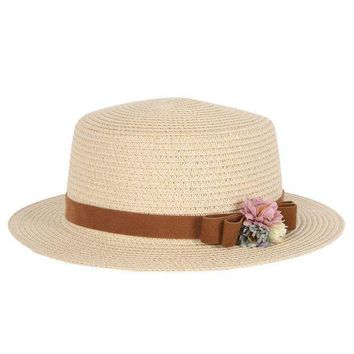 PEAP78W Summer Elegant Floral Hats for Women Ladies Causal Beach Cap Vintage Women's Straw Hat Bowknot