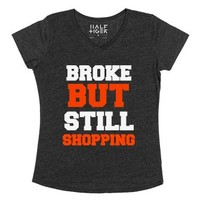Broke But Still Shopping V-neck Tee-Female Heather Onyx T-Shirt