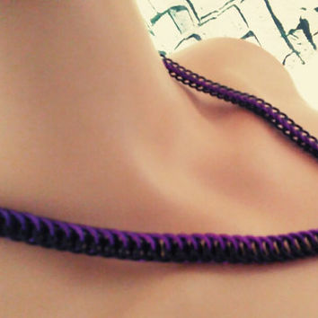 Purple and Black Half Persian Necklace