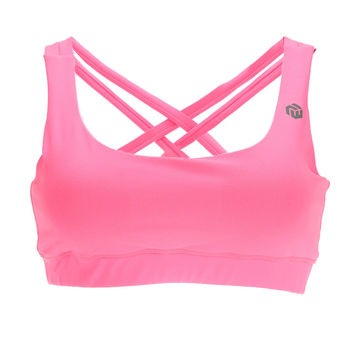 Pink Strappy Cross-Back Sports Bra