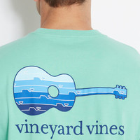 Whale Line Guitar Graphic Pocket T-Shirt