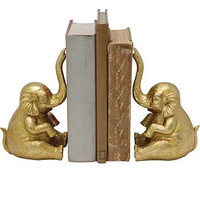 Fabled Guardians Golden Elephant Bookends
