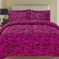 Zebra Pink and Black Down Alternative Comforter Set Twin