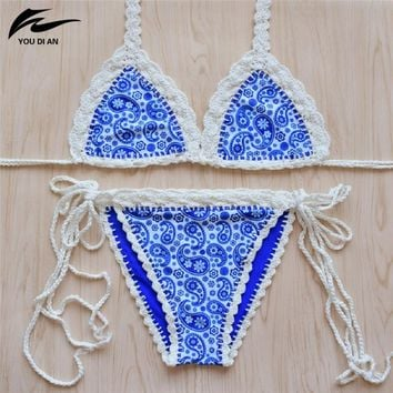 Crochet Bikini Sexy Handmade Knitted Biquini Sets Women Push Up Bikini Swimwear Halter Blue Swimsuit