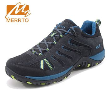 Merrto Outdoor Hiking Shoes For Men Suede Leather Winter Boots Trekking Shoes Breathable Walking Sneakers Men Sports Sneakers