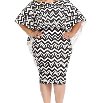 Caped Chevron Plus Bodycon Dress