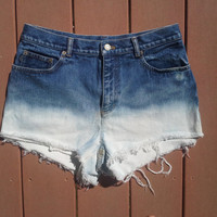 Half and Half bleached ombre denim shorts tumblr (HIGH or LOW waisted) (Light medium or dark) You choose All sizes