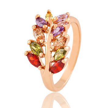 Fine Jewelry Colorful Crystal Zircon Ring Fashion Design Wedding Leaf Flower Rings For Women Accessories anillo 2015 PT32