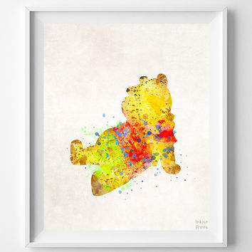 Pooh Print, Pooh Watercolor Art, Type 2, Disney Poster, Wall Decor, Wedding Gift, Office Decor, Nursery Posters, Halloween Decor
