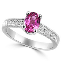 1.22ct Pink Sapphire & Diamond Engagement Ring Vintage Style