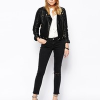 ASOS Whitby Low Rise Skinny Ankle Grazer Jeans in Washed Black with Ri