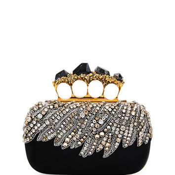 Alexander McQueen Stone Eagle-Embroidered Knuckle Clutch Bag, Black