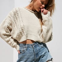 BDG Slouchy High/Low Cable Knit Sweater | Urban Outfitters